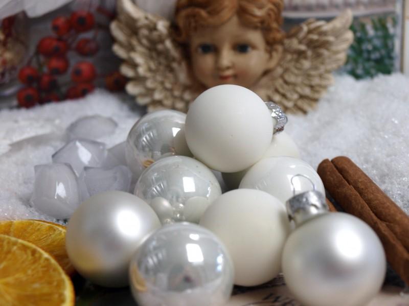 45 Kugeln Weiß Weihnachtskugel Christbaumkugeln Baumschmuck Adventskranz Anhänger