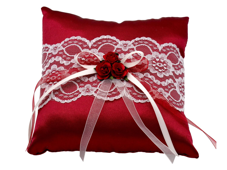 Ringkissen Bordeaux Rot Creme Hochzeit Spitze Vintage Braut Traukissen Ringe