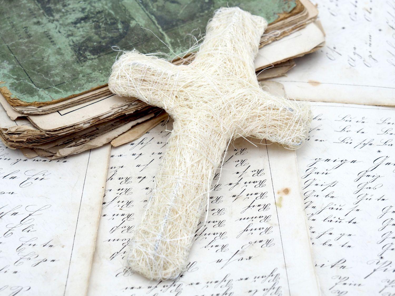 2 Sisalkreuze Creme Kreuz Kommunion Konfirmation Basteln Tischdeko Deko