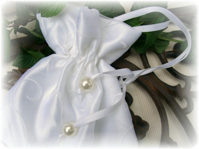 Beutel Weiß Satin Hochzeit Tasche Braut Accessoire Blumenkind Kommunion