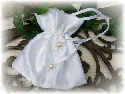 Satinbeutel Weiß Hochzeit Tasche Brautaccessoire Kommunionsaccessoire Kommunion