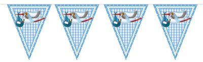 Partydeko Taufe Babyshower Wimpel Girlande Baby Geburt Blau Junge Storch Taufe