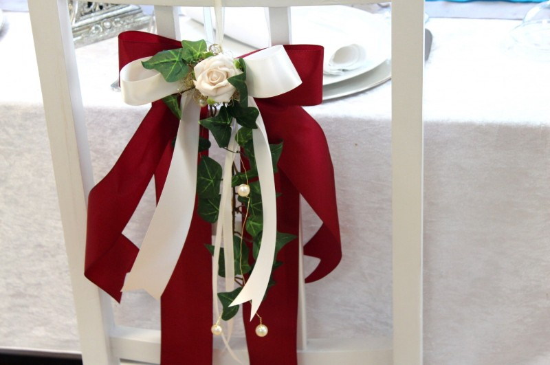 Schleife Stuhlschleife Deko Tischdeko Hochzeit Kirchendeko Creme