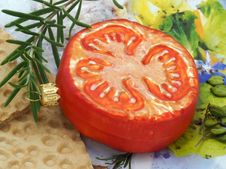 Tomatenscheibe Glas Christbaumschmuck Baumschmuck Weihnachten Weihnachtskugel