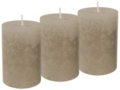 3 Stumpenkerzen Kerzen Braun Taupe
