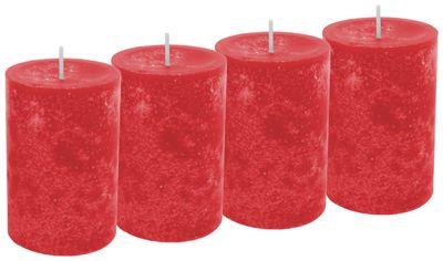 4 Stumpenkerzen Kerzen Rot Feuerrot