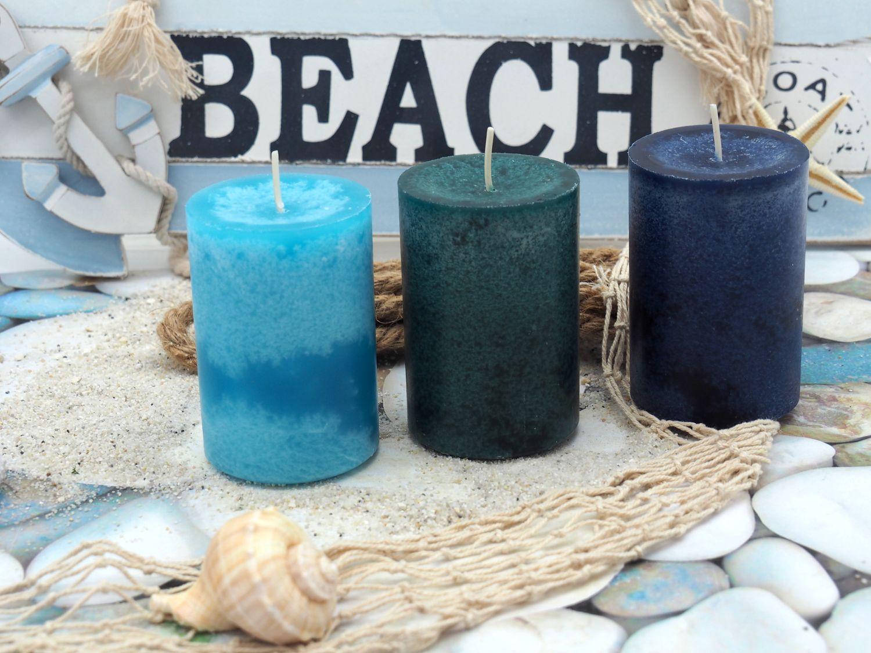 6 Stumpenkerzen Kerzen Blau Türkis Mix Hochzeit Kommunion Taufe Konfirmation Tischdeko