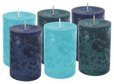6 Stumpenkerzen Kerzen Blau Türkis Mix