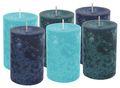 6 Stumpenkerzen Kerzen Blau Türkis Mix Hochzeit Kommunion Taufe Konfirmation Tischdeko 1