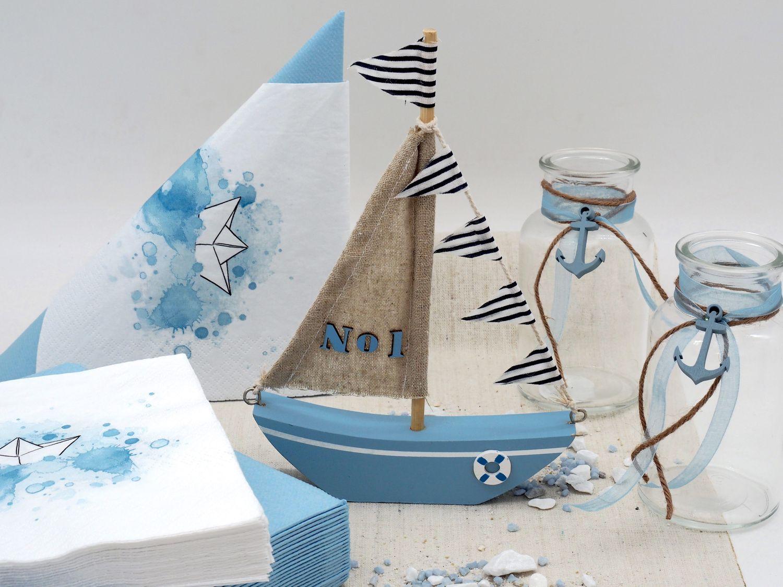 Tischdeko Kommunion Konfirmation Taufe Boot Schiff Blau Maritim SET 20 Personen