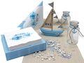 Tischdeko Kommunion Konfirmation Taufe Boot Schiff Blau Maritim SET 20 Personen 1