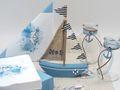 Tischdeko Kommunion Konfirmation Taufe Boot Schiff Blau Maritim SET 20 Personen 2