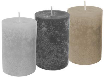 3 Stumpenkerzen Kerzen Braun Grau Mix