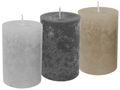 3 Stumpenkerzen Kerzen Braun Grau Mix Hochzeit Tischdeko Deko Konfirmation Kommunion 1