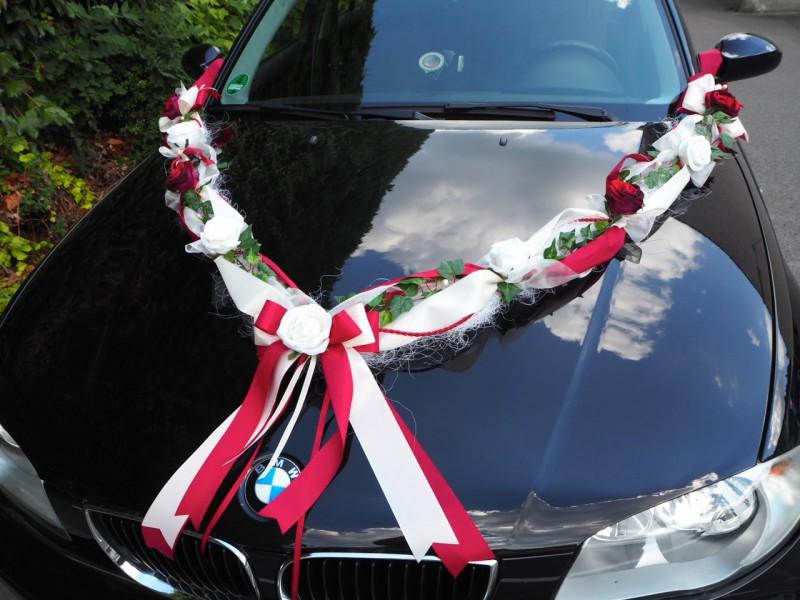 ... Bordeaux Creme Rot Hochzeit Deko Autogirlande Hochzeit Autodeko