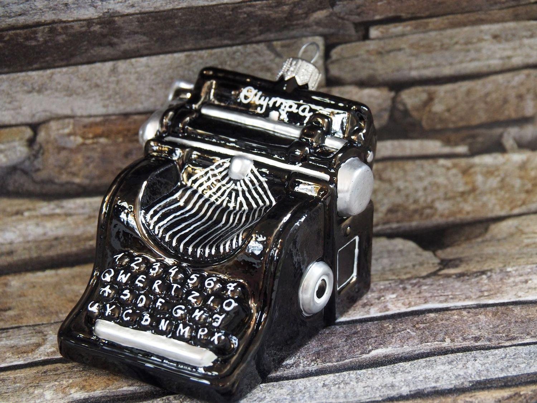 Schreibmaschine Glas Schwarz Christbaumschmuck Tannenbaumschmuck Weihnachten