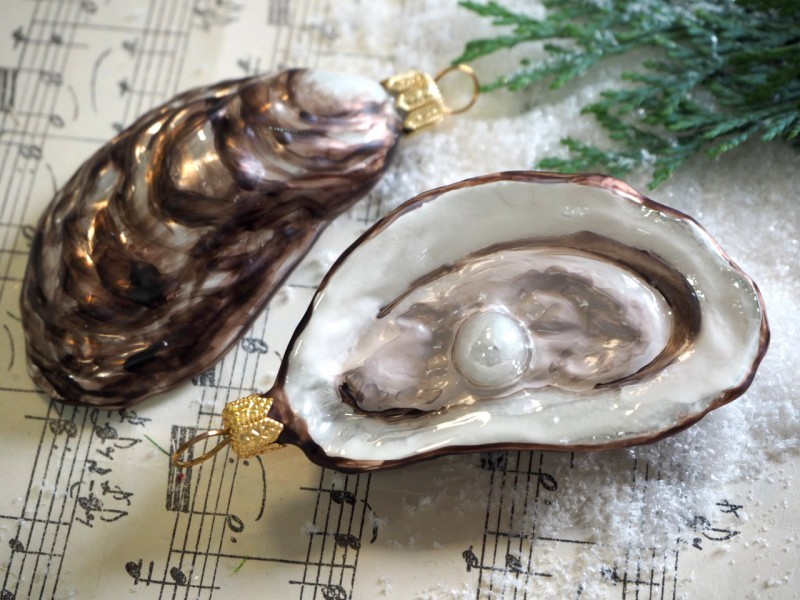 2 Austern Perle Muscheln Glas Kugel Christbaumschmuck Baumschmuck Weihnachten Advent