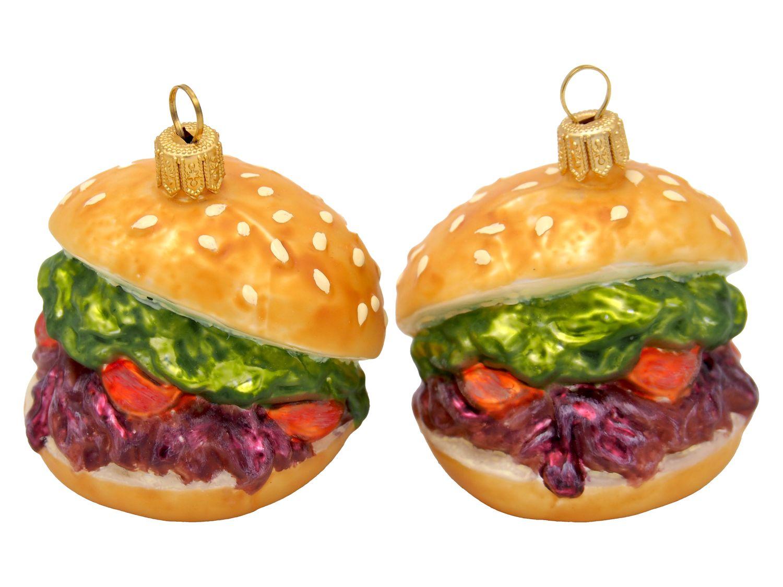 2 Burger Veggie Glas Baumschmuck Weihnachten Vegetarisch Christbaumschmuck