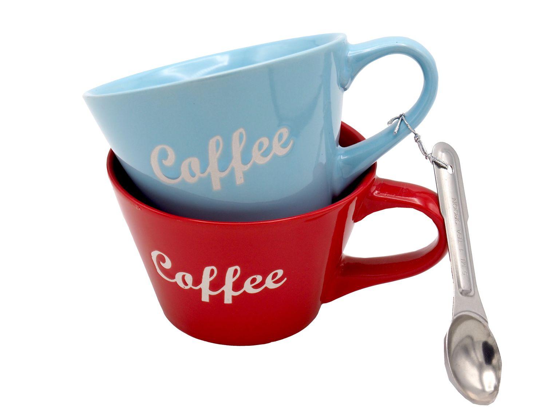 2 Tassen Kaffee-Becher mit Löffel Geschenk Tassen Retro Cappuccino
