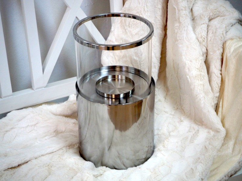 Windlicht Rund Edelstahl Glas Tischdeko 30 Cm Weihnachten Licht