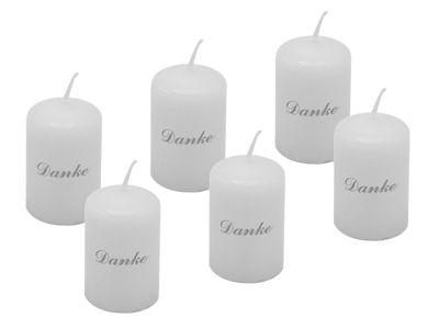 6 Kerzen Votivkerzen Weiß Danke Silber Grade