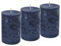 3 Stumpenkerzen Kerzen Dunkelblau Blau Kommunion Konfirmation Tischdeko Hochzeit Deko  1