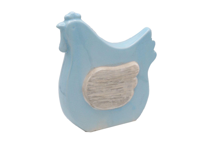 2x Huhn Hahn Ostern Deko Keramik Blau Dekoration Tischdeko Frühling