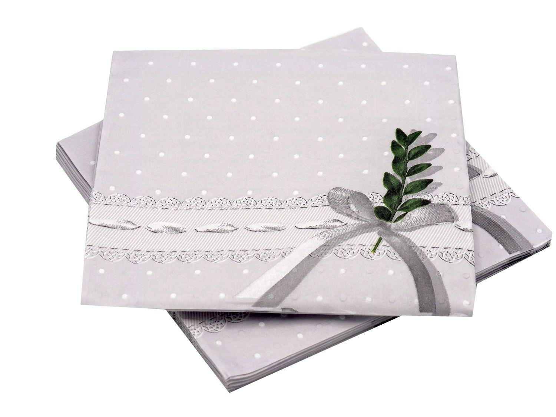 16 servietten grau gr n buchszweig buchs kommunion konfirmation tischdeko servietten taschen. Black Bedroom Furniture Sets. Home Design Ideas