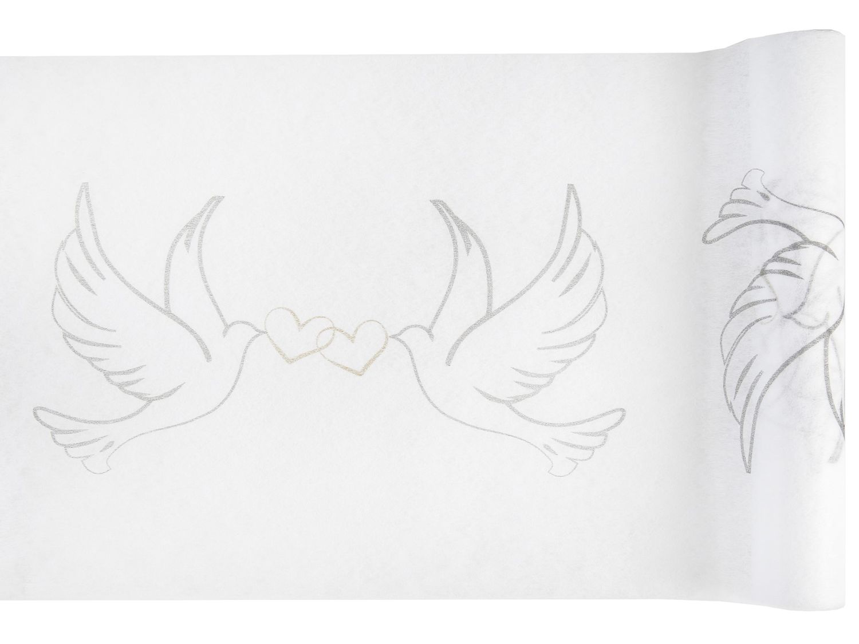 5m Tischläufer Weiß Hochzeit Tischband Tischdeko Tauben