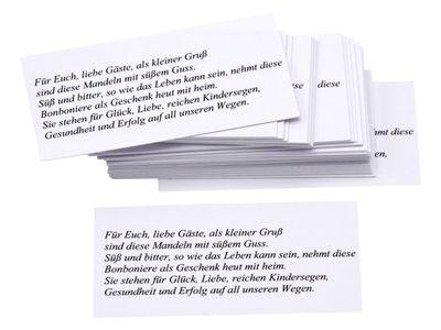 50 Kärtchen mit Mandelspruch Gastgeschenke Hochzeit Goldhochzeit Mandeln Basteln