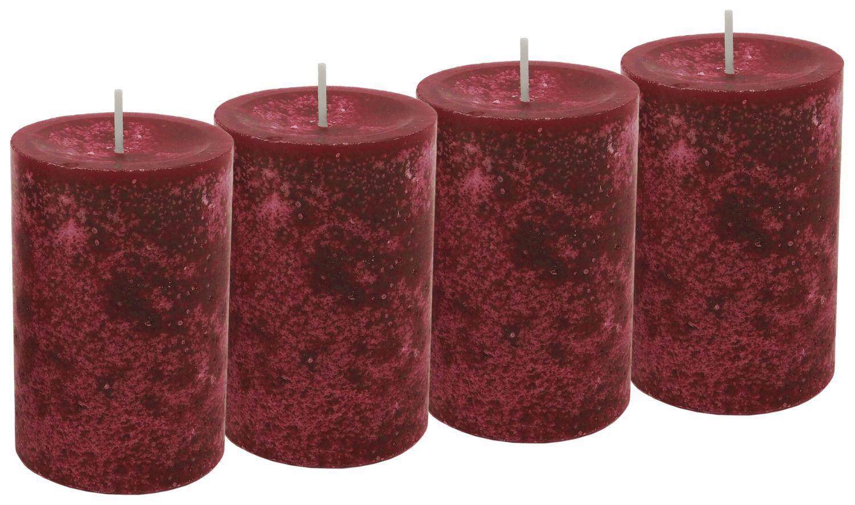 4 Stumpenkerzen Kerzen Bordeaux Rot Weinrot 6cm Hochzeit Tischdeko Weihnachten Advent Kerze Deko