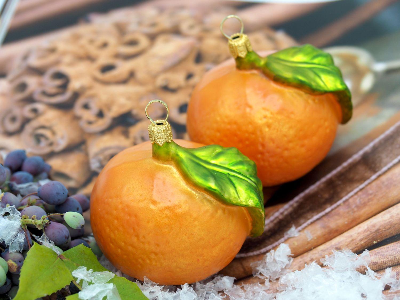2 Mandarinen Clementinen Christbaumschmuck Glas Weihnachtsbaumschmuck