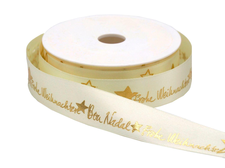 Frohe Weihnachten Gold.25m Band Satin Frohe Weihnachten Creme Gold Schleifenband