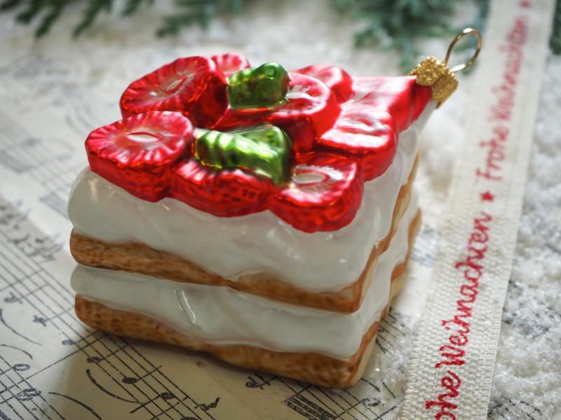 Erdbeerkuchen Kuchenstück Glas Christbaumschmuck Küche Deko Weihnachten