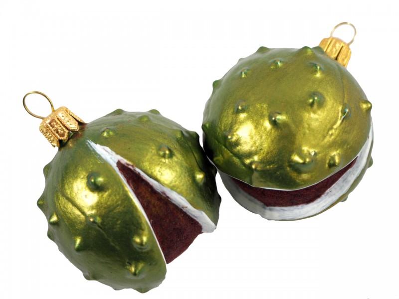 2x Kastanien Grun Glas Christbaumschmuck Weihnachten Baumschmuck