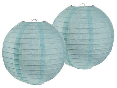 2 Stück Papierlaterne Laterne Papier Lampion 20cm Mint Blau