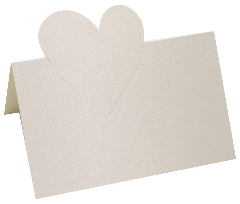 Namenskärtchen Creme Tischkarte Platzkarte Herz Tischdeko Hochzeit Deko 15 Stück