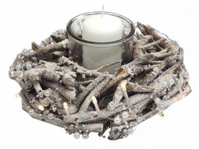 Kranz Wurzelholz Kerzendeko Weihnachten Grau mit Licht