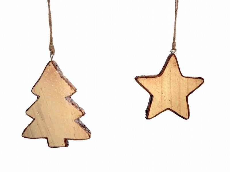 2x Anhänger Tannenbaum Stern Holz Weihnachten Baumschmuck