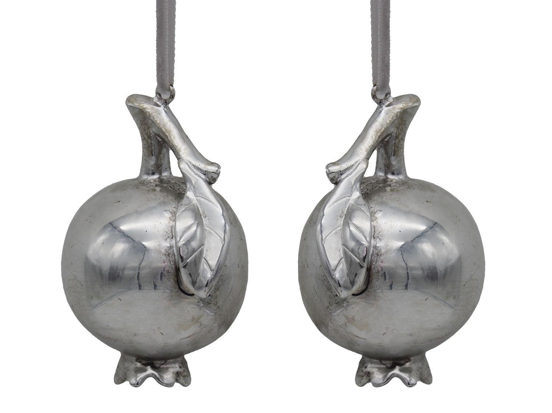 2 Granatapfel Christbaumschmuck Silber Weihnachten Baumschmuck
