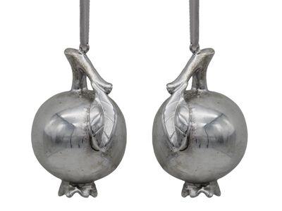 2 Granatäpfel Christbaumschmuck Silber