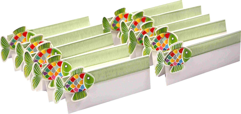 10 Namenskarten Fisch Grün Tischkarte Platzkarte Tischdeko Kommunion Deko