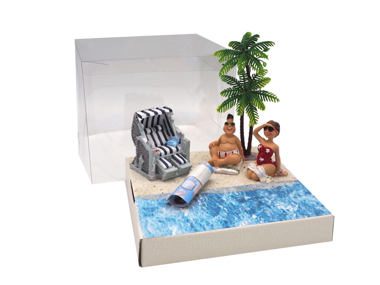 Geldgeschenk Verpackung Geldverpackung Strandkorb Urlaub Reise Strand Geburtstag Hochzeit