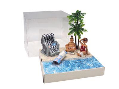 Geldgeschenk Verpackung Strandkorb Urlaub