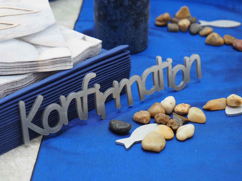 Tischdeko Kommunion Konfirmation Blau Fisch SET 20 Personen Deko
