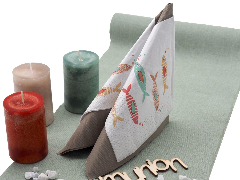 Tischdeko Kommunion Konfirmation Fisch Bunt Mint Taupe Orange Set