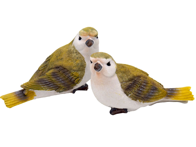 2x Vogel Grünfink Dekofigur Garten Terrasse Fensterbank Deko Frühling Ostern