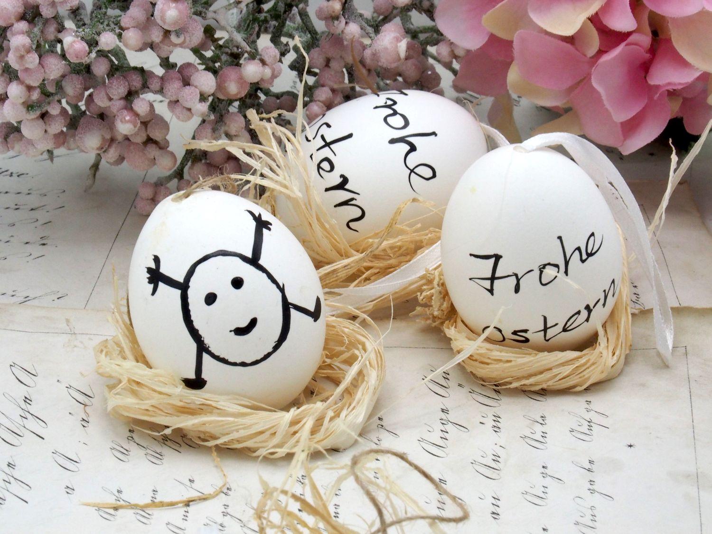 Eier Ostern Natur Hühnereier Deko Dekoration Tischdeko Frühling