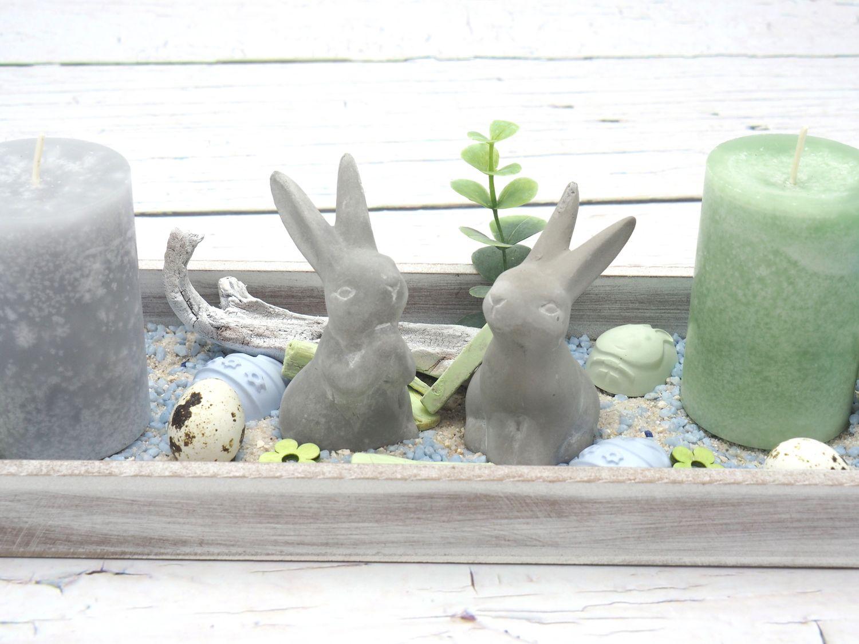 2 Osterhasen Hasen Beton Ostern Deko Tischdeko Frühling