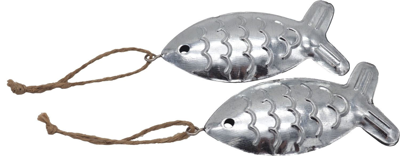 2 Fische Anhänger Metall Silber Deko Kommunion Konfirmation Tischdeko Maritim